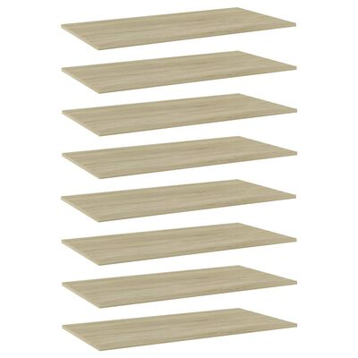 """vidaXL Bookshelf Boards 8 pcs Sonoma Oak 31.5""""x11.8""""x0.6"""" Chipboard"""