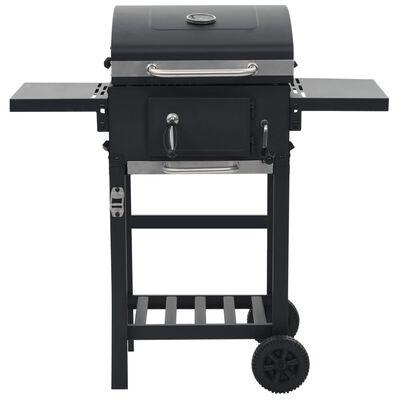 vidaXL Charcoal-Fueled BBQ Grill with Bottom Shelf Black