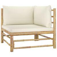 vidaXL Garden Corner Sofa with Cream White Cushions Bamboo