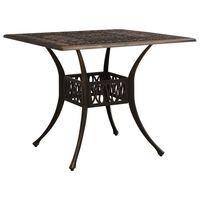 "vidaXL Garden Table Bronze 35.4""x35.4""x28.7"" Cast Aluminum"