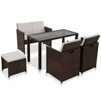 vidaXL 6 Piece Outdoor Dining Set with Cushions Poly Rattan Brown