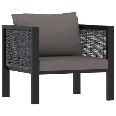vidaXL 5 Piece Garden Lounge Set with Cushions Poly Rattan Anthracite