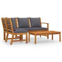vidaXL 4 Piece Garden Lounge Set with Cushion Solid Acacia Wood