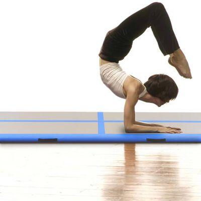 "vidaXL Inflatable Gymnastics Mat with Pump 118.1""x39.3""x3.9""  PVC Blue"