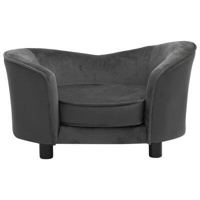 "vidaXL Dog Sofa Dark Gray 27.2""x19.3""x15.7"" Plush and Faux Leather"