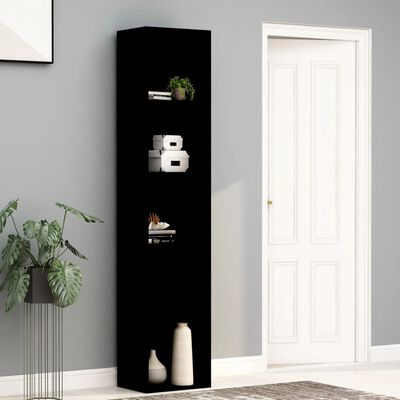 "vidaXL Book Cabinet Black 15.7""x11.8""x74.4"" Chipboard"