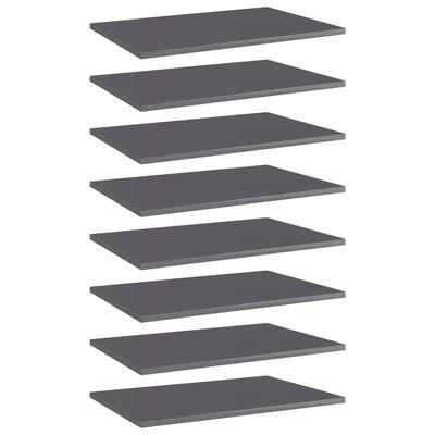 "vidaXL Bookshelf Boards 8 pcs High Gloss Gray 23.6""x15.7""x0.6"" Chipboard"