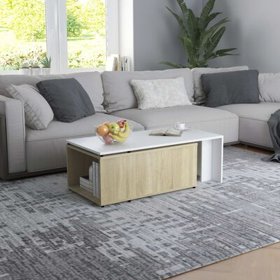 "vidaXL Coffee Table White and Sonoma Oak 59.1""x19.7""x13.8"" Chipboard"