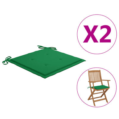 "vidaXL Garden Chair Cushions 2 pcs Green15.7""x15.7""x1.6"" Fabric"