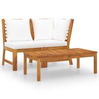vidaXL 3 Piece Garden Lounge Set with Cream Cushion Solid Acacia Wood