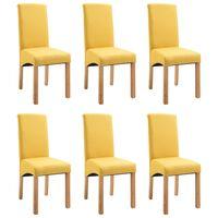 vidaXL Dining Chairs 6 pcs Yellow Fabric