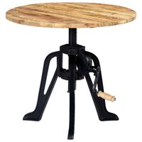 """vidaXL Side Table 23.6""""x(18.1""""-24.8"""") Solid Mango Wood and Cast Iron"""