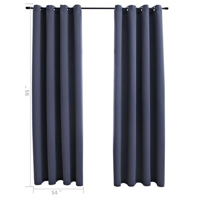 """vidaXL Blackout Curtains with Rings 2 pcs Anthracite 54""""x95"""" Fabric"""