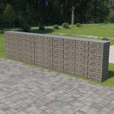 "vidaXL Gabion Wall with Covers Galvanized Steel 236""x19.7""x59"""