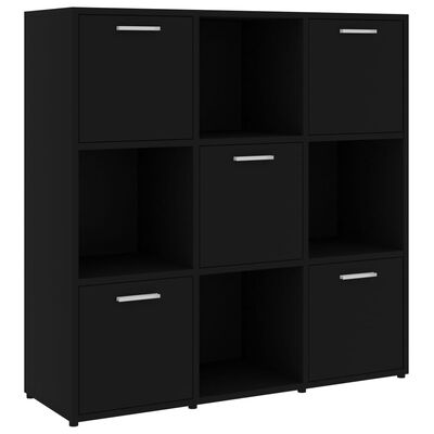 "vidaXL Book Cabinet Black 35.4""x11.8""x35.4"" Chipboard"