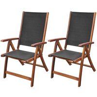 vidaXL Folding Garden Chairs 2 pcs Solid Acacia Wood and Textilene