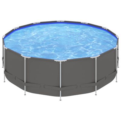 """vidaXL Swimming Pool with Steel Frame 179.9""""x48"""" Anthracite"""