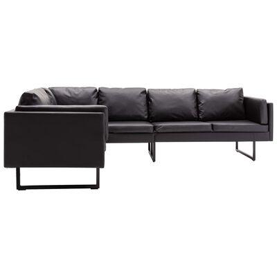 vidaXL Corner Sofa Faux Leather Black