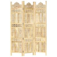 "vidaXL Hand carved 3-Panel Room Divider 47.2""x65"" Solid Mango Wood"