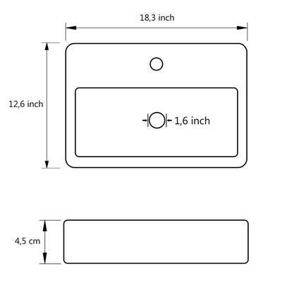 "vidaXL Bathroom Basin Ceramic White 18.3""x12.6""x4.5"""