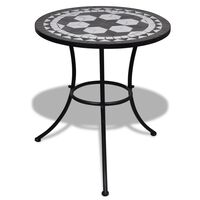 "vidaXL Bistro Table Black and White 23.6"" Mosaic"