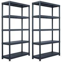 "vidaXL Storage Shelf Racks 2 pcs Black 1102.3 lb 39.4""x15.7""x70.9"" Plastic"