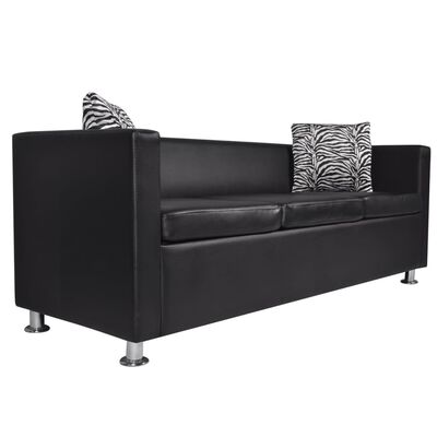 vidaXL Sofa Set Armchair and 3-Seater Black Faux Leather