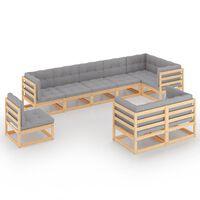 vidaXL 9 Piece Garden Lounge Set with Cushions Solid Pinewood
