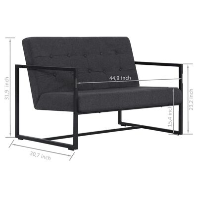vidaXL 2-Seater Sofa with Armrests Dark Gray Steel and Fabric