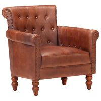 vidaXL Armchair Brown Real Goat Leather