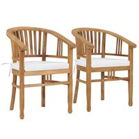 vidaXL Garden Chairs with Cushions 2 pcs Solid Teak Wood