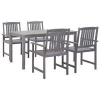 vidaXL 7 Piece Outdoor Dining Set Gray Solid Acacia Wood