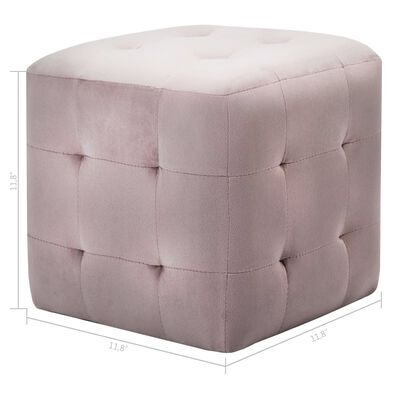"vidaXL Pouffe 2 pcs Pink 11.8""x11.8""x11.8"" Velvet"