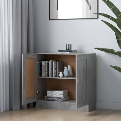 "vidaXL Book Cabinet Concrete Gray 32.5""x12""x31.5"" Chipboard"