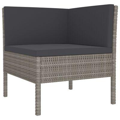 vidaXL 3 Piece Garden Lounge Set with Cushions Poly Rattan Gray