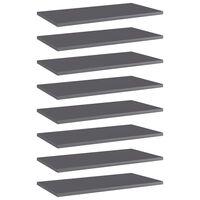 "vidaXL Bookshelf Boards 8 pcs High Gloss Gray 23.6""x11.8""x0.6"" Chipboard"