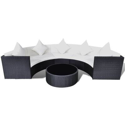 vidaXL 2 Piece Garden Lounge Set with Cushions Poly Rattan Black