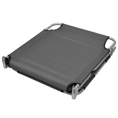 vidaXL Foldable Sunlounger with Head Cushion Adjustable Backrest Gray