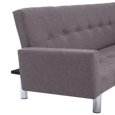 vidaXL Sofa Bed with Armrest Taupe Fabric