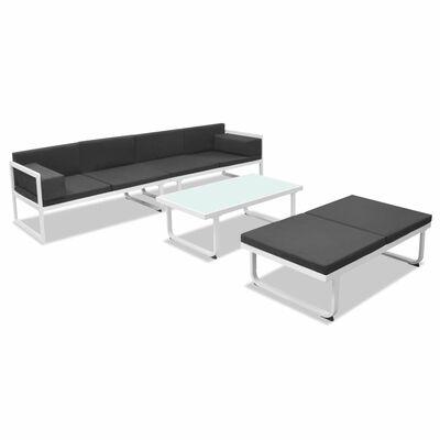 vidaXL 4 Piece Garden Lounge Set with Cushions Aluminium Black