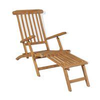 vidaXL Deck Chair with Footrest Solid Teak Wood