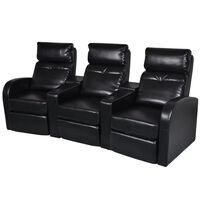vidaXL 3-Seater Home Theater Recliner Sofa Black Faux Leather