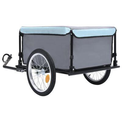 vidaXL Bike Cargo Trailer Black and Blue 143.3 lb