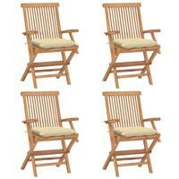 vidaXL Garden Chairs with Cream White Cushions 4 pcs Solid Teak Wood