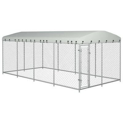 """vidaXL Outdoor Dog Kennel with Roof 315""""x157.5""""x78.7"""""""