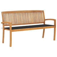 "vidaXL Stacking Garden Bench with Cushion 62.6"" Solid Teak Wood"