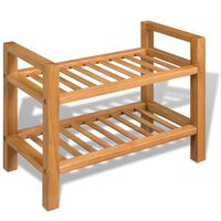 "vidaXL Shoe Rack with 2 Shelves Solid Oak Wood 19.5""x10.6""x15.7"""