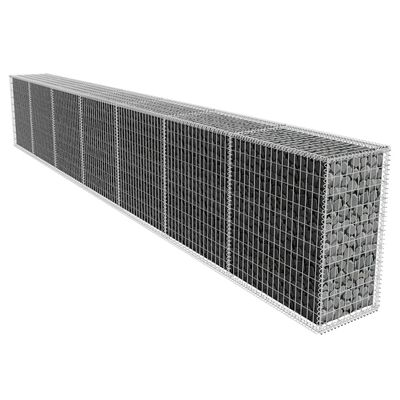 vidaXL Gabion Wall with Cover Galvanised Steel 19.7'x1.6'x3.3'