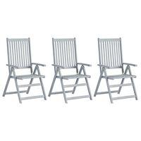 vidaXL Garden Reclining Chairs 3 pcs Gray Solid Acacia Wood