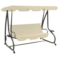vidaXL Outdoor Swing Bench with Canopy Sand White